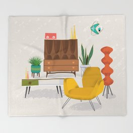 Mid Century Modern Retro Livingroom Throw Blanket