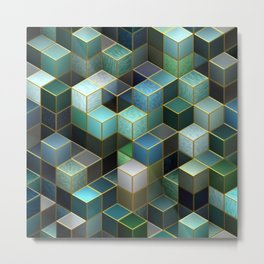 Cubes in Blue Metal Print