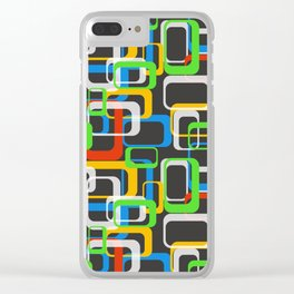 80's Style Pattern - Colored Squares Clear iPhone Case