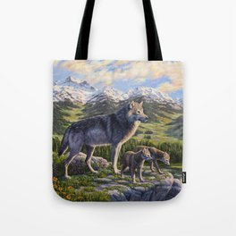 Mother Gray Wolf and Pups River Valley Tote Bag