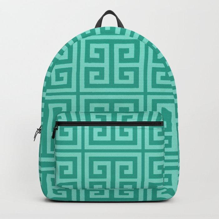 Mermaid Blue Greek Key Pattern Backpack