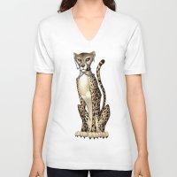 goth V-neck T-shirts featuring Goth Cheetah by Sinccolor