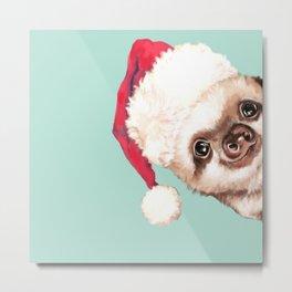 Santa Sneaky Baby Sloth Metal Print