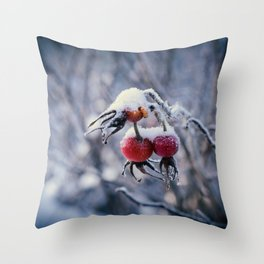 Rose hips and snow Throw Pillow