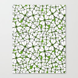 Line art - Clover : Green Canvas Print