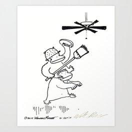 Quixotic Apes Tilt at Ceiling Fan Art Print