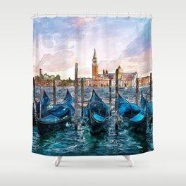 Gondolas in Venice Shower Curtain