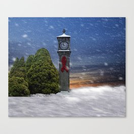 Tick Tock in the Snowstorm Canvas Print