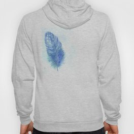 Blue feather. Watercolor illustration. Hoody