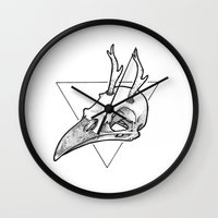 antler Wall Clocks featuring Antler Bird by HATCH