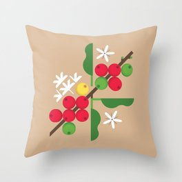 Coffee Plant Throw Pillow