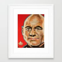 picard Framed Art Prints featuring Jean Luc Picard by Kristin Frenzel