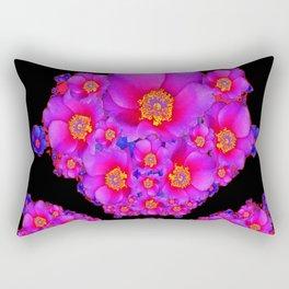 Colorful Purple-Red Fuchsia Flowers Black Modern Art Design Abstract Rectangular Pillow