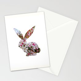 bunny rabbit silhouette floral left profile Stationery Cards