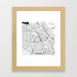 San Jose Map Gray Framed Art Print