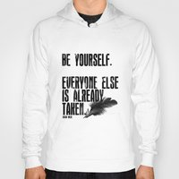 oscar wilde Hoodies featuring Oscar Wilde: Be Yourself by Danielle Denham