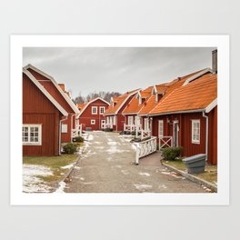 Swedish village with beautiful wooden houses with fences Art Print