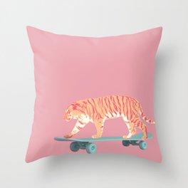 Skateboarding Pink Tiger Throw Pillow
