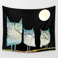 owls Wall Tapestries featuring Owls by Brontosaurus