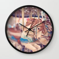carousel Wall Clocks featuring Carousel by Laura Ruth