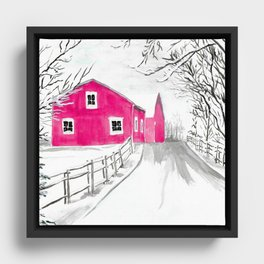 Red Barn in the Snow Framed Canvas