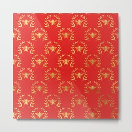 Red & Gold Bee Pattern Metal Print