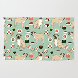 Pug sushi pattern dog breed cute pet art pet friendly gifts pugs Rug