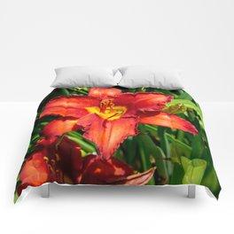 Deep Orange Tiger Lily Comforters