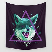fox Wall Tapestries featuring Fox by Roland Banrevi