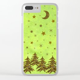 Sparkly Christmas tree, stars, moon on abstract green paper Clear iPhone Case