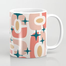 Mid Century Modern Cosmic Abstract 361 Orange Beige Dusty Rose Ochre and Teal Coffee Mug