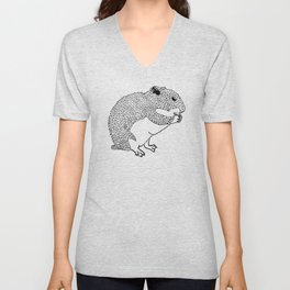 Hungry Hamster Eating A Seed Unisex V-Neck