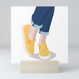 Happy little yellow sneakers Mini Art Print