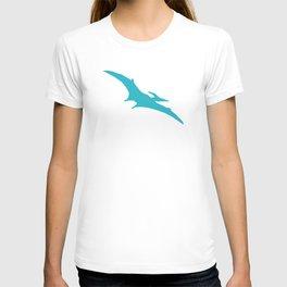Pterodactyl Dinosaur Turquoise Blue T-shirt