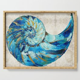 Tropical Blue Beach Art - Nautilus Shell Bleu 2 - Sharon Cummings Serving Tray