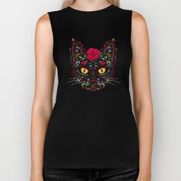 Day of the Dead Kitty Cat Sugar Skull Biker Tank