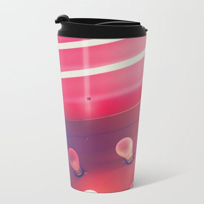 Pink Neon Glow Metal Travel Mug