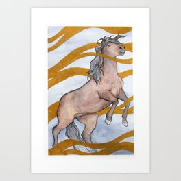 Bay horse in gold ink Art Print