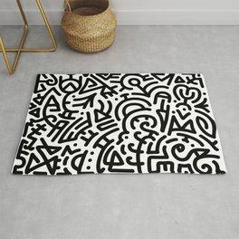 Bold Black Marker Doodle Line Rug
