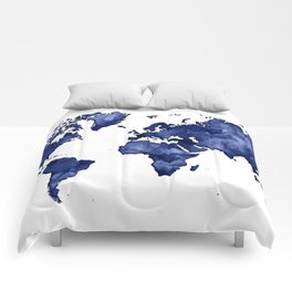 Dark navy blue watercolor world map Comforters