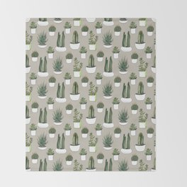 Watercolour cacti & succulents - Beige Throw Blanket