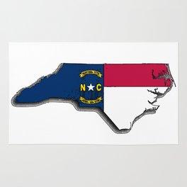 North Carolina Map with Flag Rug