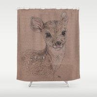 fawn Shower Curtains featuring Fawn by Fruzsina Kuhari