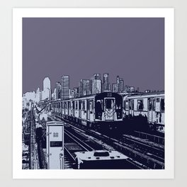 New York, NYC, Subway Train Yard at Night. (Photo collage, travel, gritty streets, graffiti) Art Print