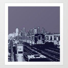 New York, NYC, Subway Train Yard at Night. (Photo collage, travel, gritty streets, graffiti) Art Print