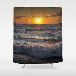 Lake Michigan Sunset with Crashing Shore Waves Shower Curtain