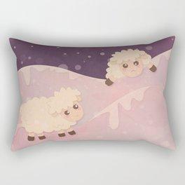 Cartoon Baby Sheep, Red Violet Snowy Bokeh Background Rectangular Pillow