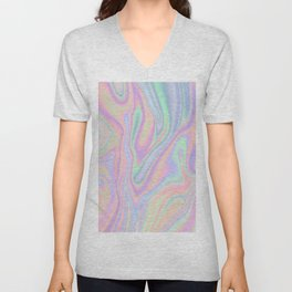 Liquid Colorful Abstract Rainbow Paint Unisex V-Neck