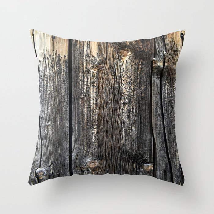 Old Weathered Wood Texture Throw Pillow