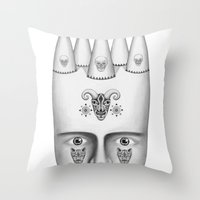 skulls Throw Pillows featuring Skulls by Lou Patrou